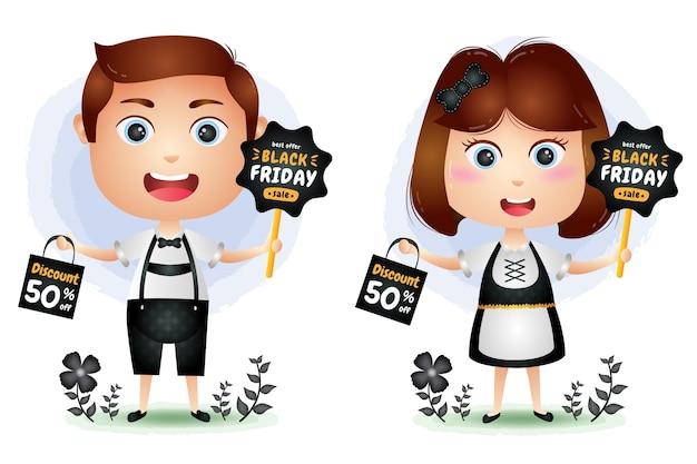 Venda de sexta-feira negra com personagem de casal fofo segurando a promoção do quadro e ilustração da sacola de compras