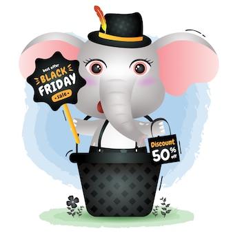 Venda de sexta-feira negra com um elefante fofo na cesta de promoção e ilustração de sacola de compras