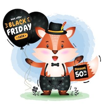 Venda de sexta-feira negra com uma raposa fofa segurando um balão de promoção e ilustração de sacola de compras
