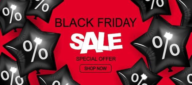 Venda de sexta-feira negra, compre agora, banner de desconto vermelho com balões.