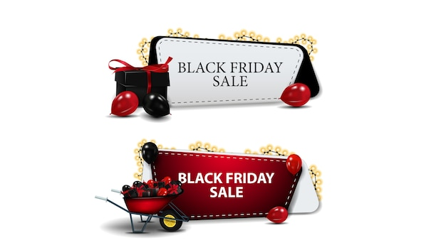 Venda de sexta-feira negra, conjunto de cupons de descontos isolados. cupons de desconto com presentes e carrinho de mão com presentes