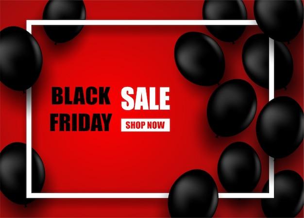 Venda de sexta-feira negra. design com balões pretos