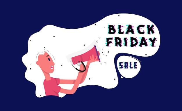 Venda de sexta-feira negra. garota de personagem plana segurando um megafone nas mãos e gritando para informar a todos sobre a venda