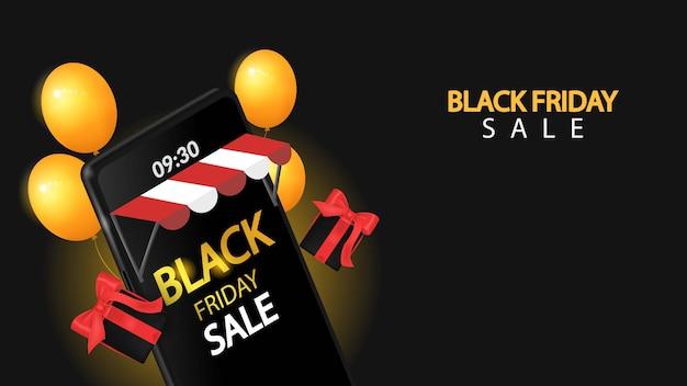 Venda de sexta-feira negra no celular com preto