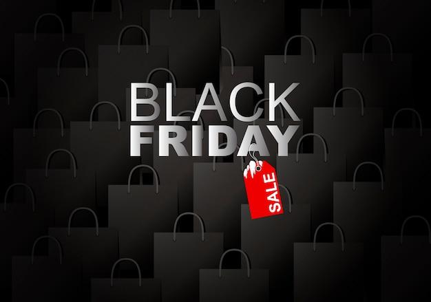 Venda de sexta-feira negra no fundo do saco de compras