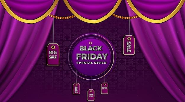 Venda de sexta-feira negra sobre o fundo de preços da etiqueta dourada