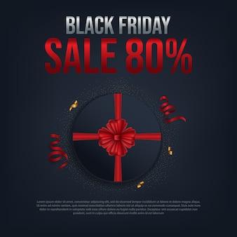 Venda de sexta-feira preta 80% cartaz com presente do círculo vermelho