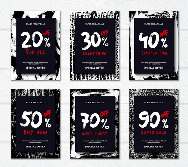 Venda de sexta-feira preta com grandes descontos banner promocional vertical ou conjunto de cartaz
