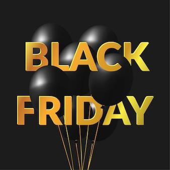 Venda de sexta-feira preta com texto dourado e blackground preto