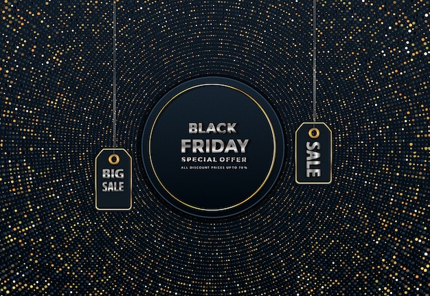 Venda de sexta-feira preta em preto no banner de preços de rótulo dourado