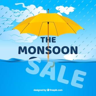 Venda de temporada de monções com guarda-chuva e mar