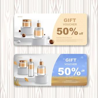 Venda de vale-presente ou venda de festival. produto cosmético ou de cuidados com a pele.
