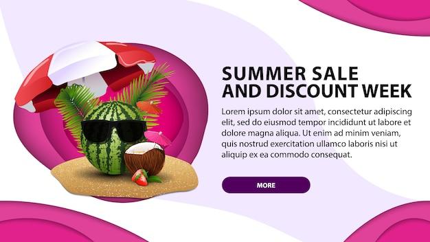 Venda de verão a semana de descontos, banner web de hoje em estilo de corte de papel
