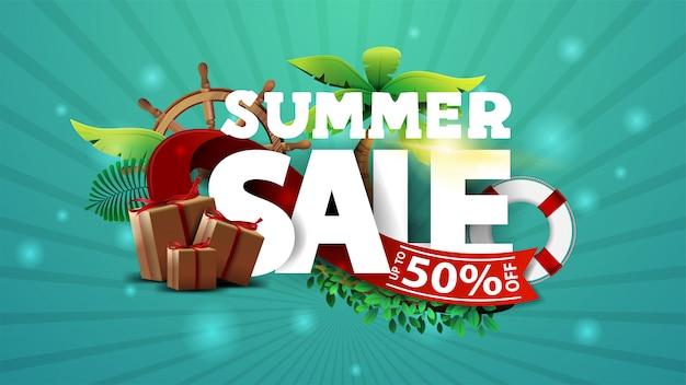 Venda de verão, até 50% de desconto, banner de desconto turquesa com texto 3d decorado com elementos tropicais e de verão. desconto elemento de verão para suas artes