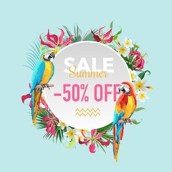 Venda de verão, banner com flores tropicais e pássaros exóticos, para pôster com desconto, promoção de moda, oferta de mercado