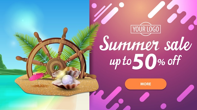 Venda de verão, banner de desconto horizontal com belas paisagens e design moderno