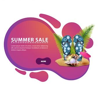 Venda de verão, banner de desconto moderno na forma de linhas suaves para o seu negócio
