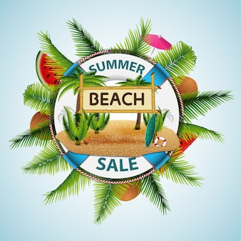 Venda de verão, banner de desconto moderno na forma de uma tábua de salvação com decoração de mar