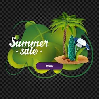 Venda de verão, banner de desconto na forma de lâmpada de lava