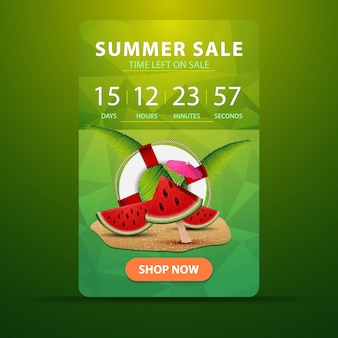 Venda de verão, banner de desconto vertical web para o seu site com o temporizador de ação