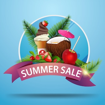 Venda de verão, banner de web clicável desconto redondo com fita para o seu site ou negócio