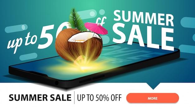Venda de verão, banner de web com desconto moderno para o seu site com um smartphone