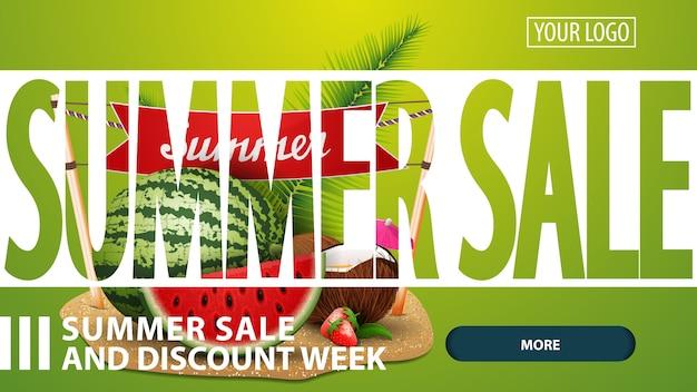 Venda de verão, banner de web criativa desconto verde para o seu site
