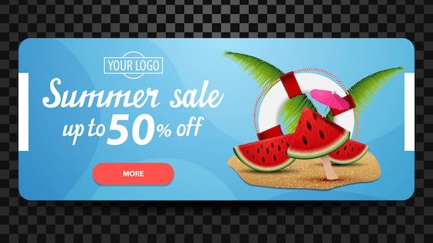 Venda de verão, banner de web desconto, horizontal, minimalista para o seu site