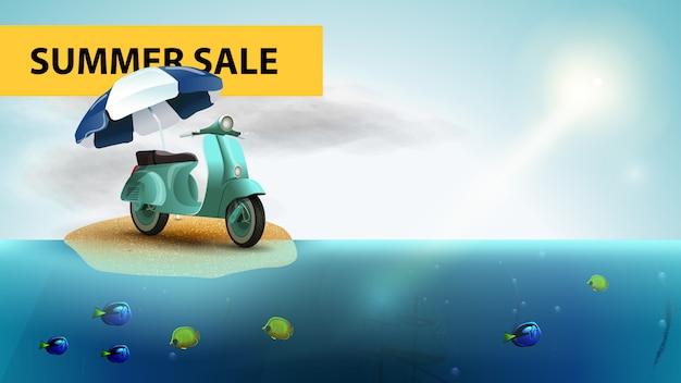 Venda de verão, banner de web horizontal do mar com scooter com um guarda-sol