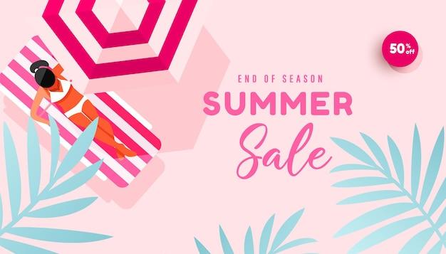 Venda de verão banner ilustração verão praia plana design