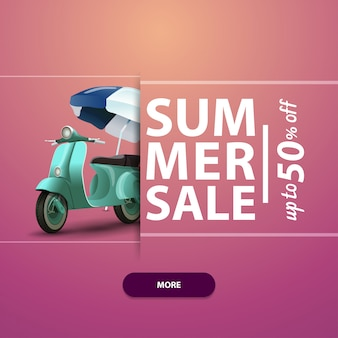 Venda de verão, banner quadrado para o seu site, publicidade e promoções