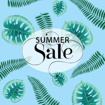Venda de verão, cartaz azul com monstera e folhas de samambaia.