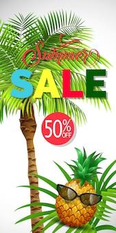 Venda de verão cinquenta por cento fora de rotulação com palmeira. oferta de verão ou publicidade de venda