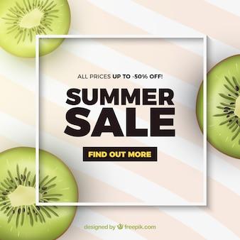 Venda de verão com estilo realista de kiwis
