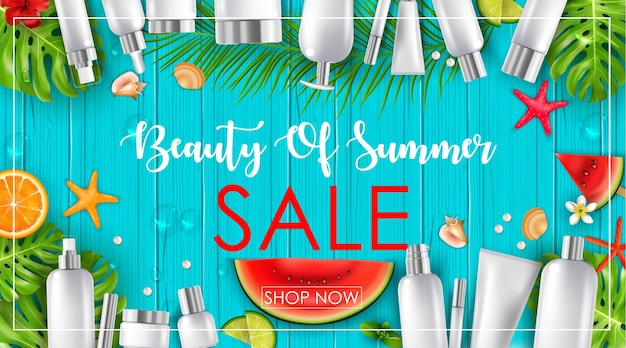Venda de verão com fundo de beleza e cosméticos