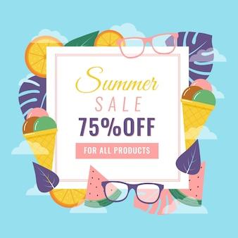 Venda de verão com óculos escuros e sorvete