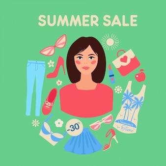 Venda de verão comercial em design plano com mulher