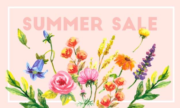 Venda de verão conceito. fundo de verão com flores tropicais. template.