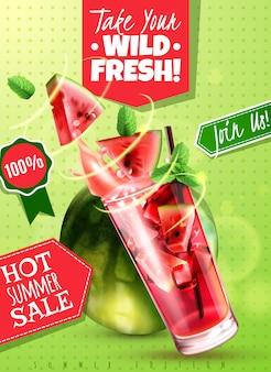 Venda de verão de água de desintoxicação refrescante com folhas de hortelã de melancia fresca bebe ilustração em vetor cartaz publicidade realista de vidro