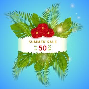 Venda de verão desconto banner design para promoção com folhas de palmeira e flores vermelhas