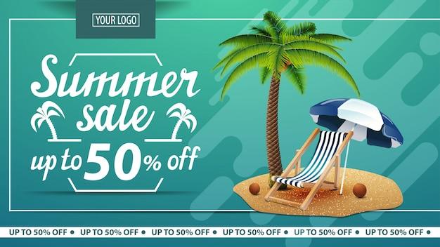 Venda de verão, desconto banner horizontal para loja online