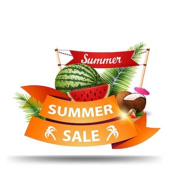 Venda de verão, desconto banner web na forma de fitas para o seu negócio