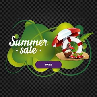 Venda de verão, desconto banner web sob a forma de lâmpada de lava