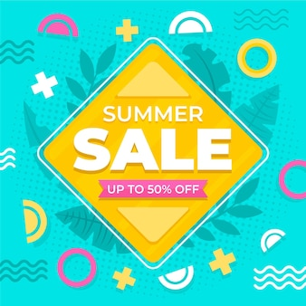 Venda de verão design plano com oferta