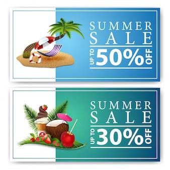 Venda de verão, dois banners de desconto na web