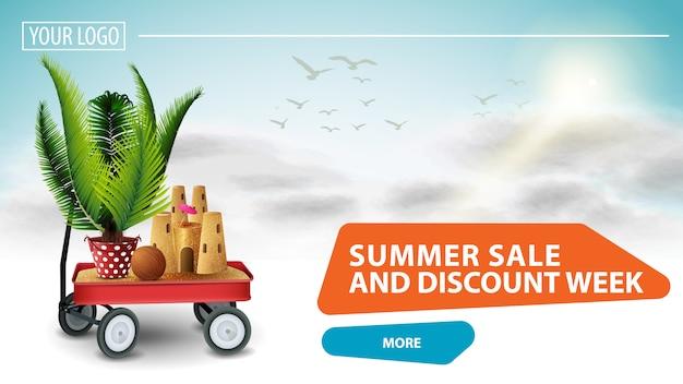 Venda de verão e semana de desconto, banner da web clicável para o seu site com uma bela nuvem