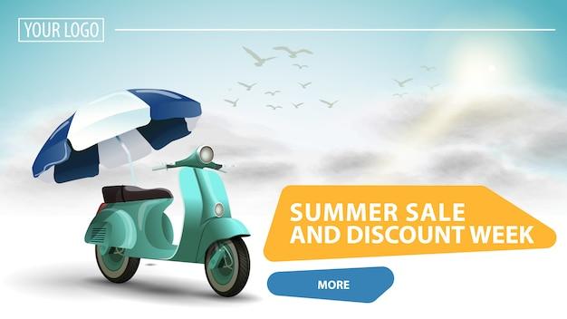 Venda de verão e semana de desconto, banner da web clicável para o seu site