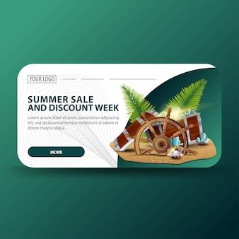 Venda de verão e semana de desconto, banner de desconto 3d moderno para o seu negócio