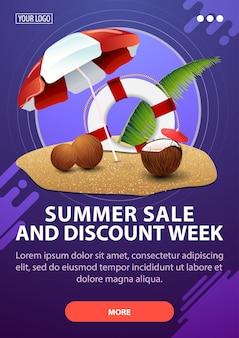Venda de verão e semana de desconto, banner de desconto vertical com design moderno