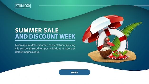 Venda de verão e semana de desconto, banner de web moderna de desconto para o site